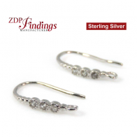 Silver 925 earring base with Rhodium plating CZ embedded