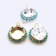 Square 12mm Bezel Pendant For Setting with Clear /Turquoise Rhinestones fit Swarovski 4470