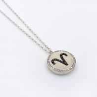 Aries Zodiac Charm Silver 925 Rhinestone Pendant Necklace
