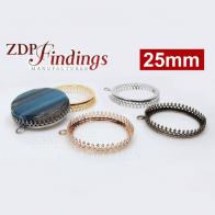 Round 25mm Base Bezel Crown Setting Pendant