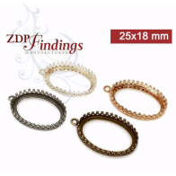 6pcs x Oval 25x18mm Quality Cast Gallery Tray Bezel Setting, Choose Your Finish
