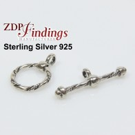 Sterling Silver 925 Square Toggle Clasp 12mm