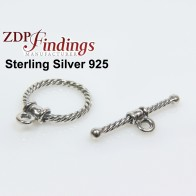 Sterling Silver 925 Square Toggle Clasp 14mm