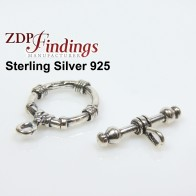 Sterling Silver 925 Round Toggle Clasp 16mm