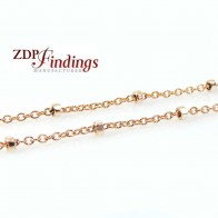 1mm 14k Rose Gold Filled Beaded Chain