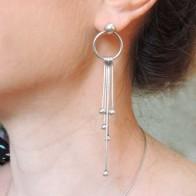 90mm Antique Silver Modern Minimalist Post Wire Earrings