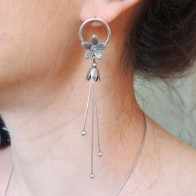 90mm Antique Silver Post Earrings With Flower For Setting