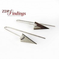 60mm Shiny Silver Triangle Ball Wire Earrings