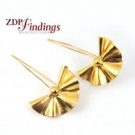 Long 50mm Matte Gold Plated Modern Deco Fan Swirl Bead Wire Earrings