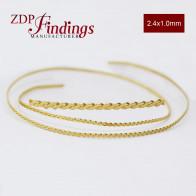 24 Inch Gallery Wire Shiny Brass, 2.4x1.0mm
