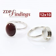 12x10mm Oval Bezel on Ring,  925 Sterling silver. Choose your size.