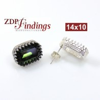 14x10mm 4610 Silver 925 Swarovski Post Earrings