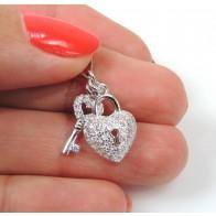 15mm Silver 925 Zirconia Lock Key pendant