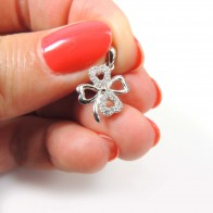 12mm Silver 925 Zirconia Leaf Clover pendant
