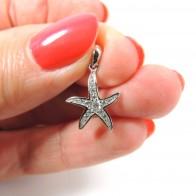 16mm Silver 925 Zirconia Starfish Sea Star Pendant