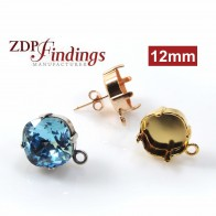 Square 12mm Earring Setting fit Swarovski 4470