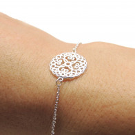 Silver Plated Link Chain Delicate Mandala Bracelet, Length 7.5