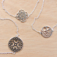 Silver Plated Link Chain Delicate Mandala Necklace, Length 16""