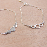 Silver Plated Link Chain Delicate Geometric Bracelet, Length 7.5""