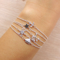 Silver Plated Link Chain Delicate CZ Bracelet, Length 7.5