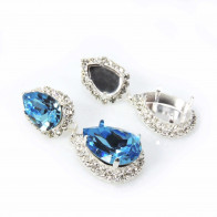 Pear 14x10mm / 18x13mm Rhinestone Earrings Fit Swarovski 4320-Shiny Silver-Crystal