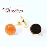 Round 12mm Post Earrings Setting Fit Cabochon Gem