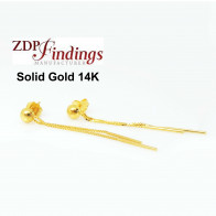 14K Solid gold Chain drop post earrings  ear back included