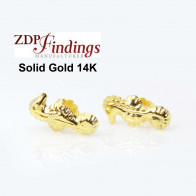14K Solid gold Seahorse post earrings