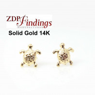 14K Solid gold Turtle post earrings