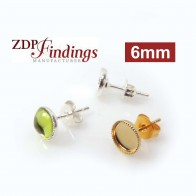 Round 6mm Bezel Post Earrings Fit Flat Back Stone