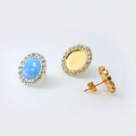Round Bezel Post Rhinestone Earring Fit Flat Back-Shiny Gold-10mm