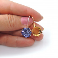 Hexagon 14mm Setting Earrings fit Swarovski 4681-Shiny Gold
