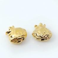 15mm Pomegranate Charm Gold Plated Beads