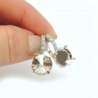 Round 12mm Bezel Turquoise Earring Fit Swarovski 1122