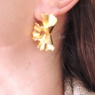 Swirl Large 35mm Matte Gold Plated Post Earrings