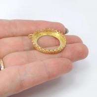 Round 24mm Bezel Shiny Brass Pendant