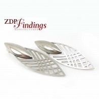 Large 60mm Antique Silver Plated Geometric Post Earrings