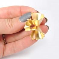 Swirl Large 35mm Matte Gold Plated Post Earrings