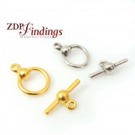 Round 13mm Ball Bead Toggle Clasp Lock