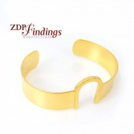Matte Gold Plated Open Metal Cuff Bracelet Bangle