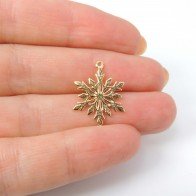 14K Micron Gold Plating 15mm Snowflake Charm