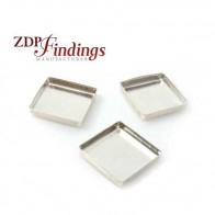 Square 16mm Sterling silver 925 Bezel Cup Tray