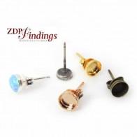 Round 5mm Brass Plated Bezel Earring Post