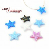 12mm Opal Star Bead Charm Pendant
