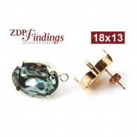 Oval 18x13mm Bezel Post Earrings Fit Swarovski 4120