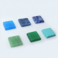 Square 10x10mm Bezel Pendant With Natural Gemstone