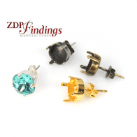 Square 8mm Bezel Cup Post Stud Earring Setting Fit Swarovski 4470 Crystal, Choose Your Finish