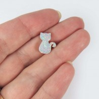 13x10mm Opal Cat Bead Charm Pendant Lab Created