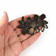 70x45mm Flower Antique Brass Setting Fit European Crystals 1122, 18x13, 14x10
