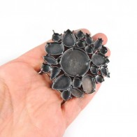 60x65mm Antique Silver Brooch Fit European Crystals 27mm, 4120, 4320